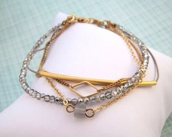 Quadruple Strand Bracelet Set - Gold Chain, Tiny Faceted Beads, Grey Agate and more!