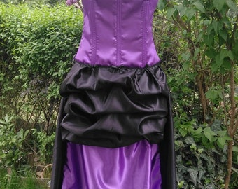 Victorian purple and black satin dress, FREE SHIPPING, 19th century style