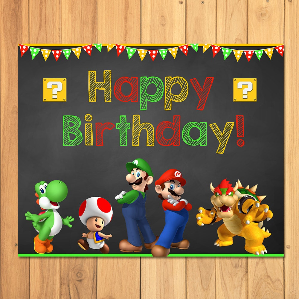 Super Mario Brothers Happy Birthday Sign Chalkboard Super