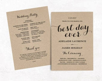 Wedding Programs Printable Wedding Program Template DIY - 5x7 wedding program template
