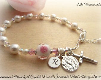 Catholic Communion Personalized Rosary Bracelet with White Swarovski Pearls and Crystal Rose Bead - Sterling Monogram