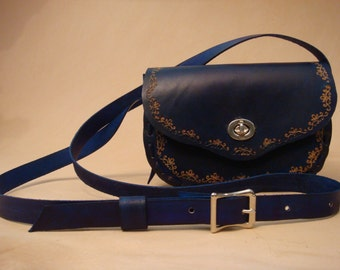 Lyn Tooled Blue Leather Crossbody Bag - Shoulder Purse - Handbag - SND Pattern