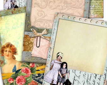 SHABBY FRAMES atc aceo size  - printable Digital collage sheet gift ephemera card hang tag instant download backround collage - ac208