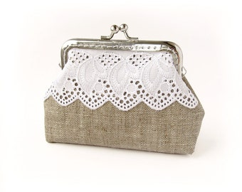 Linen Purse with White Lace, Wedding Bridesmaid Small Clutch with Kisslock