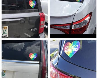 Orlando United decal Orlando pride bumper sticker decor One Pulse victims LGBT support rainbow sticker pride home decor