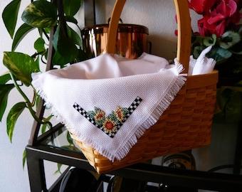Sunflower Cross Stitched Basket Liner - Bread Cloth - Summer basket - gift basket