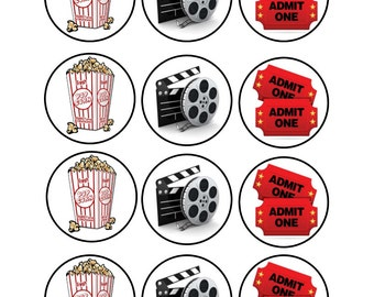Edible Movie Party Themed Cupcake Cookie Toppers