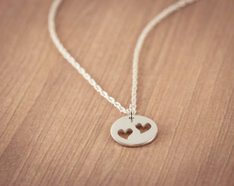 Mother of Two Children, Silver  Two Heart Cutouts Mother  Necklace, Sterling Silver Heart Jewelry, Friendship  Gift, Sweetheart Necklace