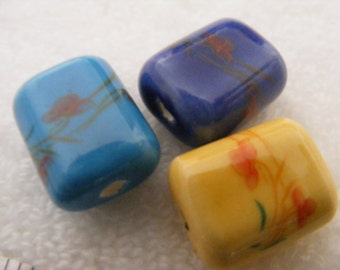 3 Porcelain Square Pillow Beads