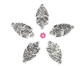 x 10 (156D) 9x18mm silver OWL connector charms