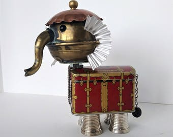 Elephant assemblage Art - Found object robot - Steampunk - Upcycle Recycle Repurpose Sculpture