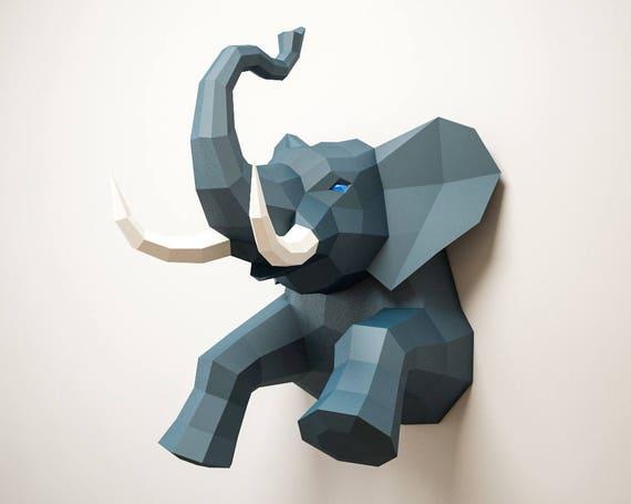 3D Papercraft Elephant, DIY paper craft model, Art Project ideas ...