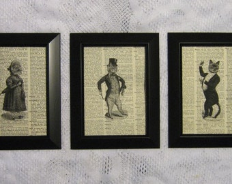 "Victorian Cats on Vintage Dictionary Page Prints - Set of 3 - 5"" x 7"""