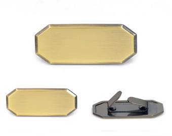 Blank Metal Name Tags Metal Labels Luggage Tags Studs Brush Brass B0302 5 pcs.