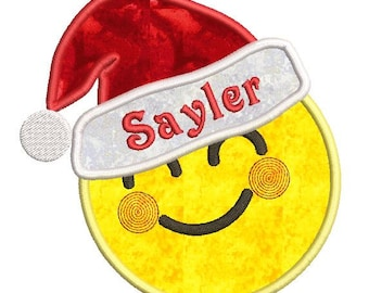"Santa Emoji Applique - In The Hoop - Machine Embroidery Design Download (5""x7"" Hoop)"
