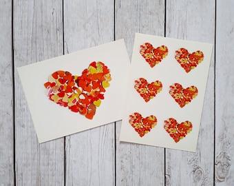 Orange hearts postcards, set of 2