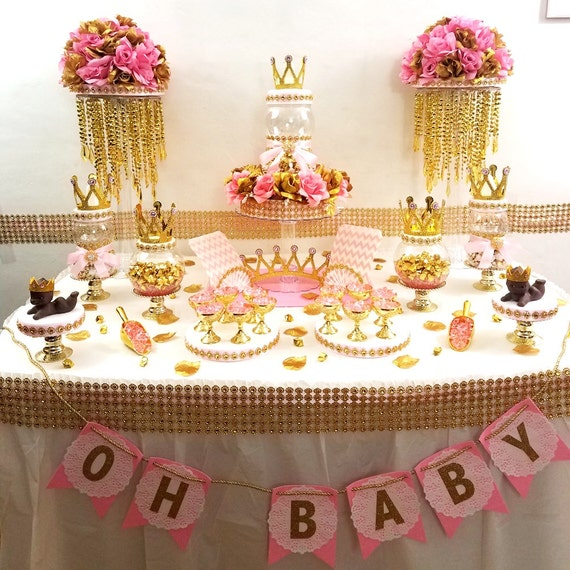 Candy For Baby Shower Ideas: Princess Baby Shower Candy Buffet Centerpiece With Baby Shower
