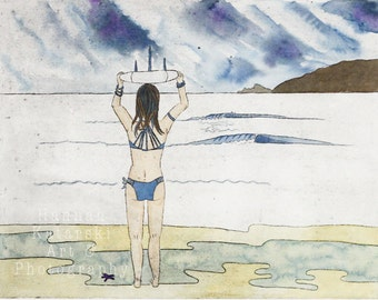 Surfer Girl & surfboard, watercolour and hand pulled print, Shabby Chic Beach house, Surf Art, Intaglio, Collagraph
