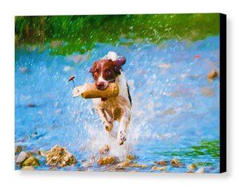 Pet Portrait Printed on Canvas, Premium Gallery Wrap, Ready to Hang, 12x18, 16x24, 24x36, 32x48, large canvas print