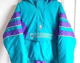"Chunky hooded jacket / Sweatshirt Half Zip Starter ""Hornets"" Vintage 90s size S Rare."