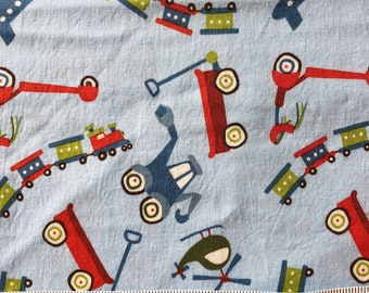 Blue Scoot Fabric, Wagon Fabric, Tractor Fabric, Train Fabric, Riley Blake Scoot, Quilting Cotton Children, Boy Print
