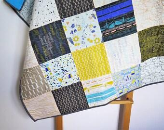 Baby quilt, modern baby boy quilt, urban baby quilt, patchwork blanket, nursery decor, blue grey yellow