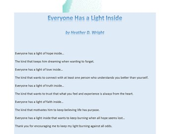 Everyone Has a Light Inside - Printable Digital Download