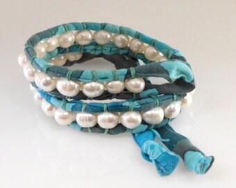 Freshwater Pearl Blue Batik Ribbon Double Wrap Bracelet
