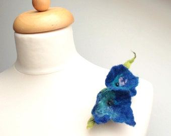 Cobalt Blue Floral Brooch Felt Pin Wool Silk Green Aqua Mothers Day Gift for her Forget me not Azure Electric blue navy Spring Flower