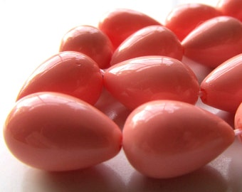 Shell Pearl Beads 14 X 10mm Lustrous Coral Pink Shell Pearl Smooth Teardrops  - 6 Pieces