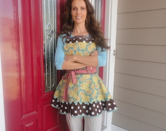 Chocolate Brownies ~ Yellow, Brown & Aqua - Sadie Style Women's Apron ~ 4RetroSisters