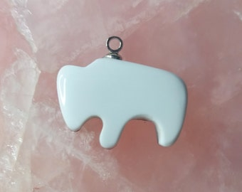 White Magnesite Buffalo Cabochon/ backed/ sterling silver eyehook