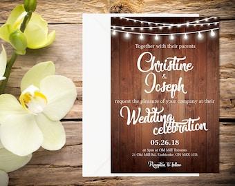 Rustic Wedding Invitation, Country Wedding Invitation, Wedding Invitation Template, Wedding invitation, Printable wedding invitation
