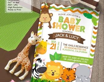 Safari Birthday Party invitations Jungle animals DIY printable