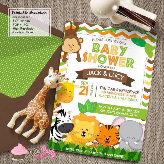 safari baby shower invitations jungle animals diy printable