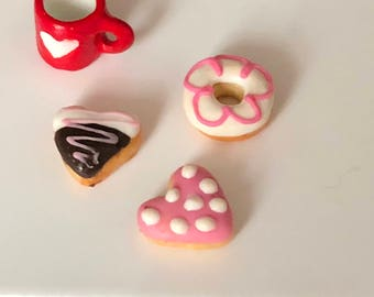 Miniature Donuts, Frosted Doughnuts, Set of 3, Style 2, Valentine Donuts, Dollhouse Miniatures, 1:12 Scale, Miniature Food