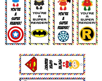 GIrl Super Hero Printable Book Marks