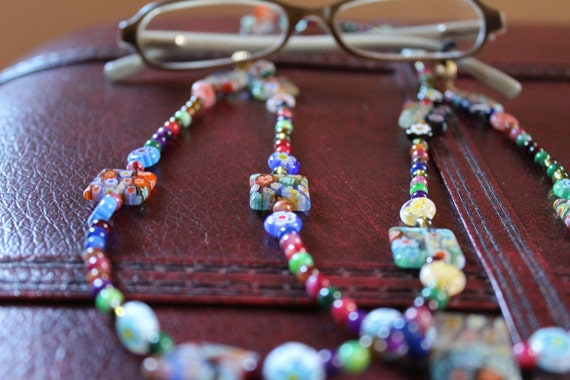Unique Bead Eyeglass Chain, Multicolor Millefiori Holder for Glasses, Reading Glasses Chain Accessory, Gift Idea for Women
