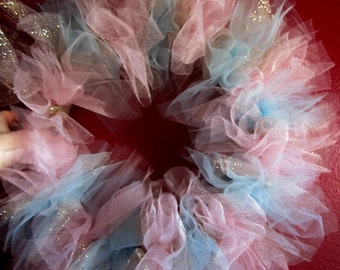 Two Tone Tulle Wreath with Glitter Tulle- Gender reveal- Baby shower- Gender reveal party- Holiday party- Wreath- Wall decor
