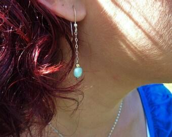 Boucles d'oreilles Amazonites - Argent 925, chaine fine, billes Or 14 ct*, pierres fines naturelles, semi-précieuses, bijou artisanal