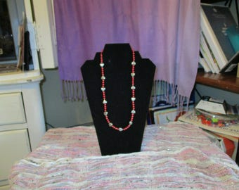 Red and Silver Heart Necklace