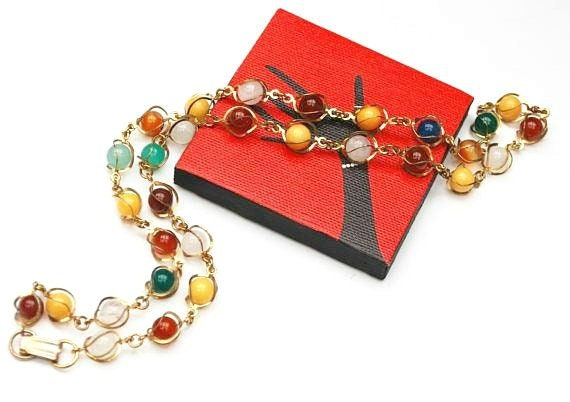 Gemstone Bead  Necklace - Caged  gold tone metal - polished quartz jasper carnelian and Agate beads
