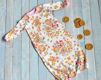 Baby gown, Newborn gown, Baby sleeper, Baby going home outfit, Baby sleeper gown