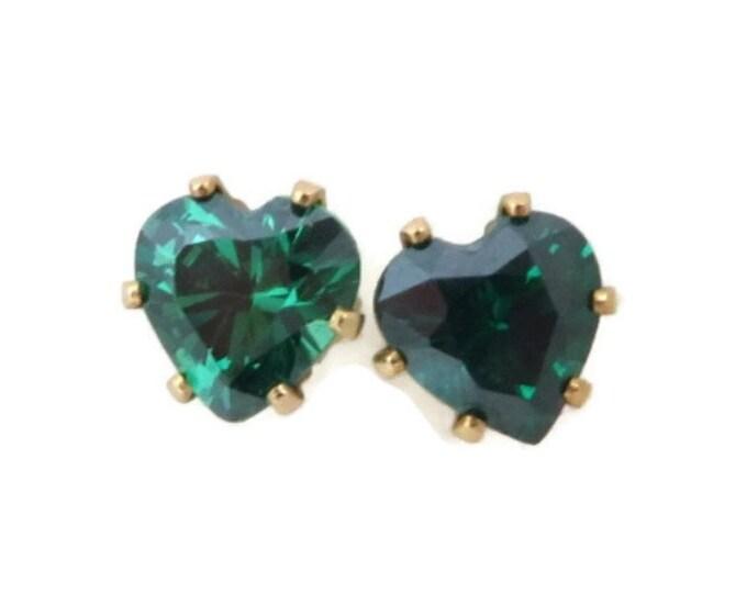 Emerald Earrings, Solid Gold Earrings, Gold Studs, Stud Earrings, Bridal Earrings, Stone Earrings, Gold Post Earrings, Heart Studs, For Her