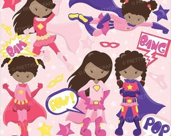 80% OFF SALE Superhero girls clipart commercial use, vector graphics, digital clip art, digital images - CL674