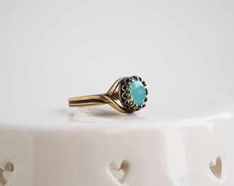 Pacific Opal Ring Crown Ring Adjustable Rhinestone Swarovski Crystal Vintage Style Downton Abby Edwardian Gift For Her Gift for Mom
