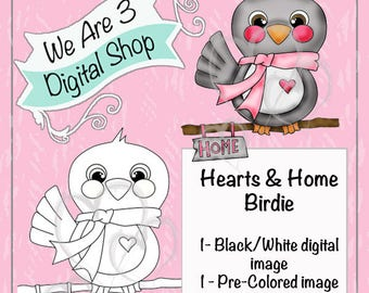 We Are 3 Digital Shop, Hearts and Home Birdie, Digital Stamp, Winter, Christmas