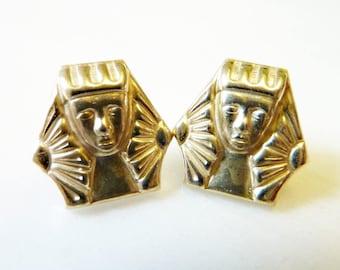 Pharaoh Stud Earrings, Vintage Gold Brass, 1950s, Sterling Silver Posts, Egyptian Revival, Art Deco