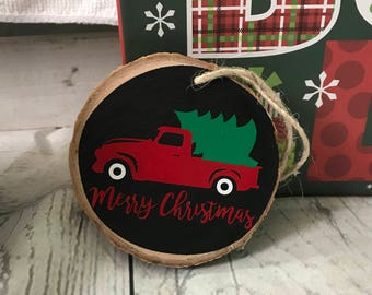 Red Truck Christmas Ornaments, Rustic Christmas Ornaments, Custom Wood Ornaments, Christmas Ornaments, Natural Ornaments, Woodland Ornament