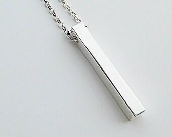 Sterling Silver Vertical Bar Pendant Necklace, Chunky Vertical Stick Pendant Necklace, Chunky Rectangle Pendant, 3D Bar Pendant Necklace